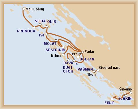 carte croatie ferry dalmatie nord