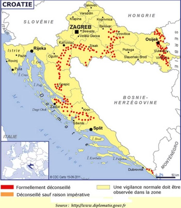 carte mines croatie