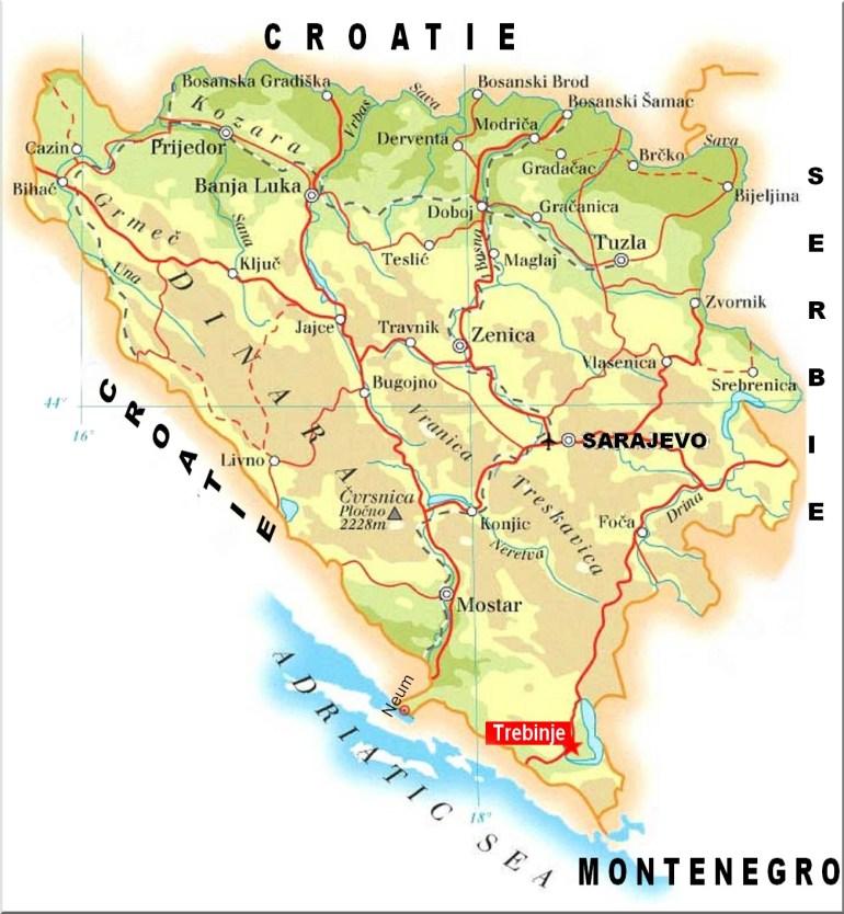 trebinje Bosnie-Herzegovine-Carte