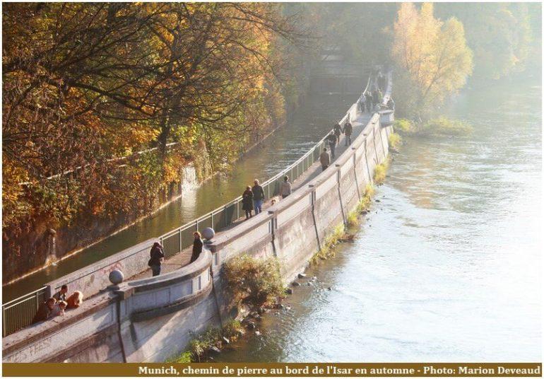 Bords de l'Isar à Munich chemin de pierre