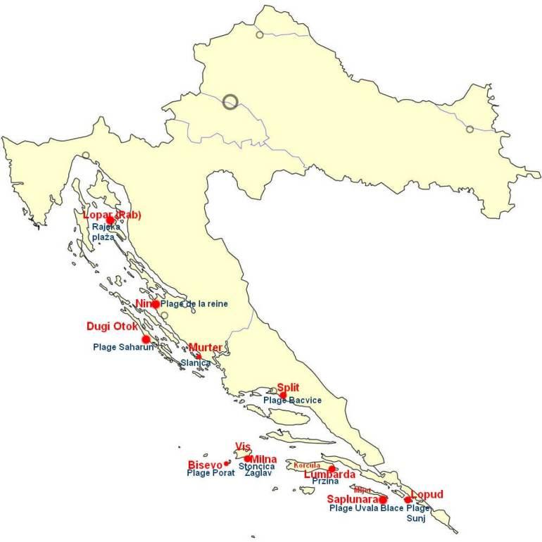 Carte des 10 plus belles plages de sable de Croatie