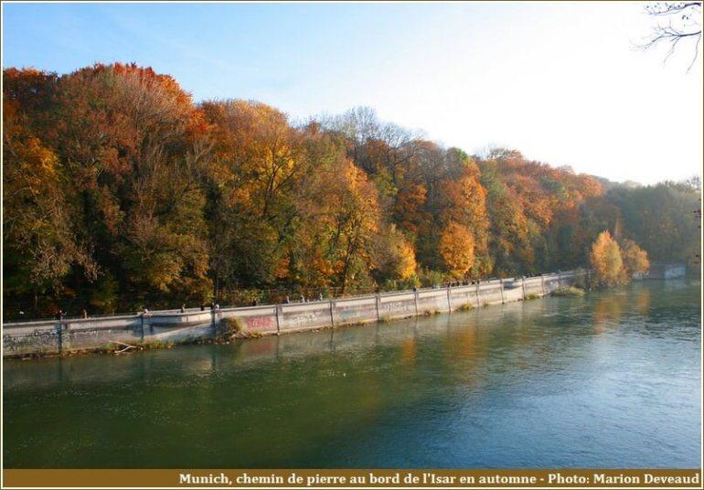 Munich chemin de pierre au bord de l'Isar