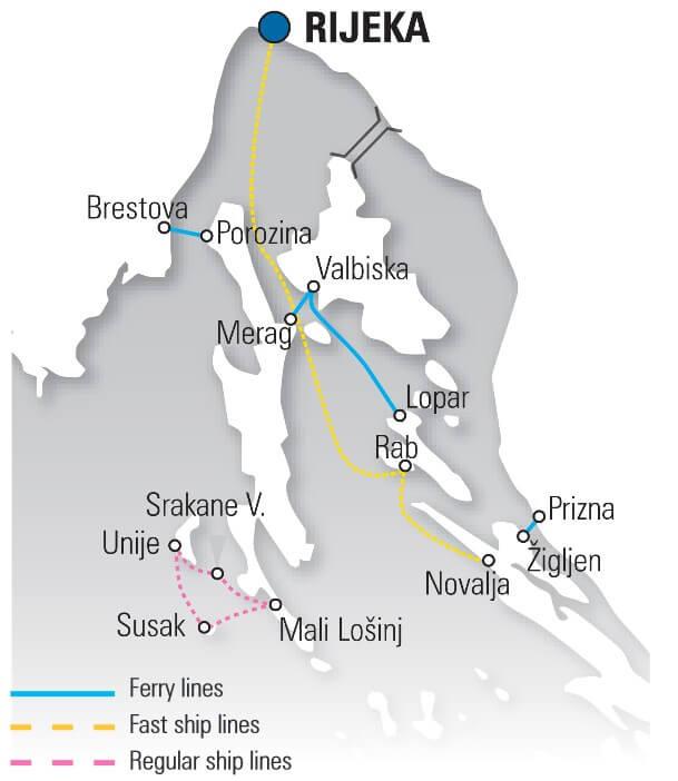 carte ferries depuis Rijeka