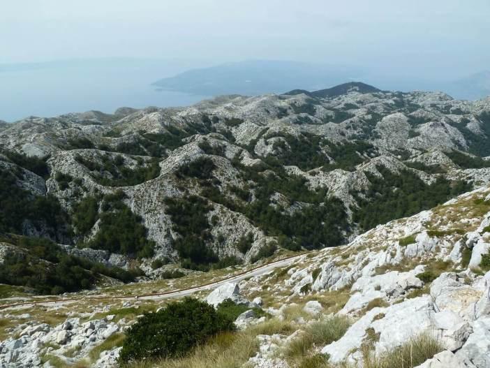 Massif du Biokovo dans le parc nature vue depuis Sveti Jure