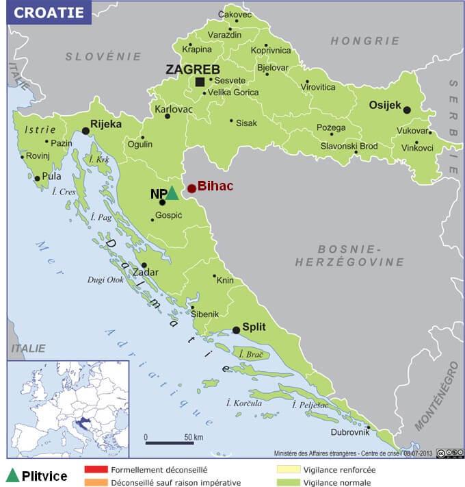 Carte Croatie Plitvice Bihac (2)