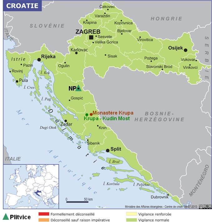Carte Croatie Plitvice Krupa