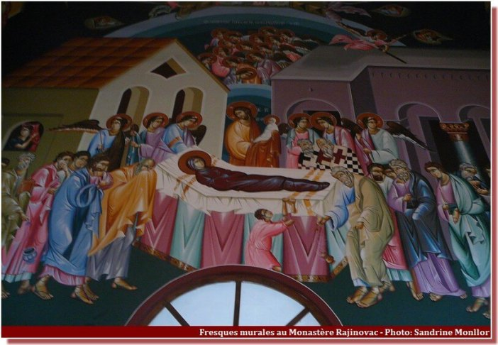 Monastère Rajinovac fresque murale mort du Christ