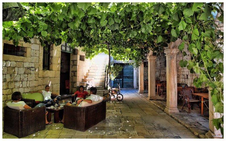 Vis Terrasse de café abritée sous les vignes