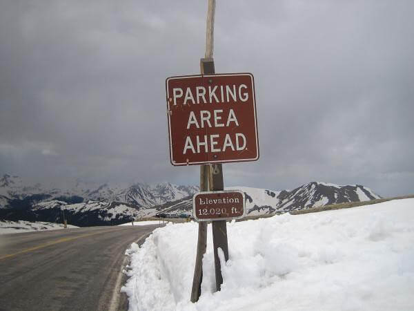 Rocky Mountain national park parking area
