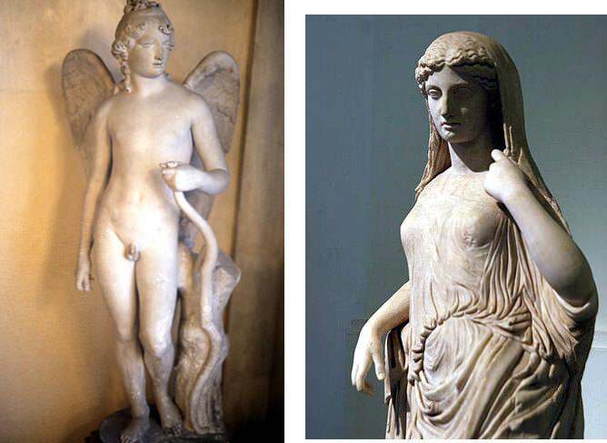 naples musée archologique eros et statue de femme