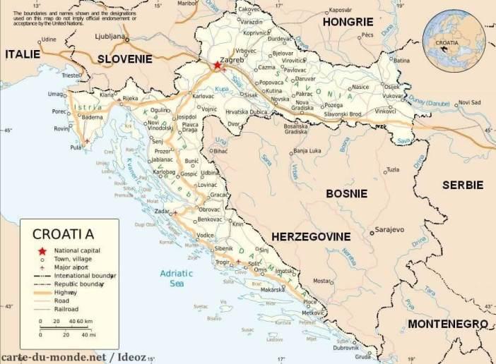 carte des principales villes de croatie