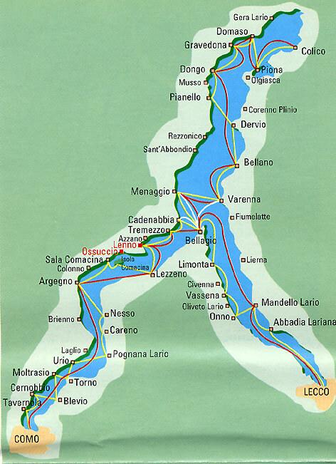 Carte du lac de Côme