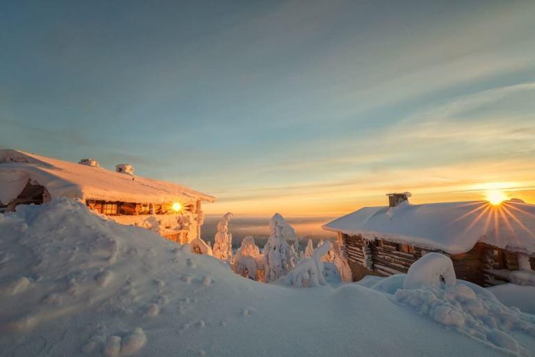Finlande chalet en Laponie en hiver