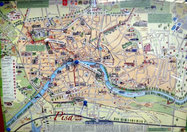 pise pisa plan de la ville