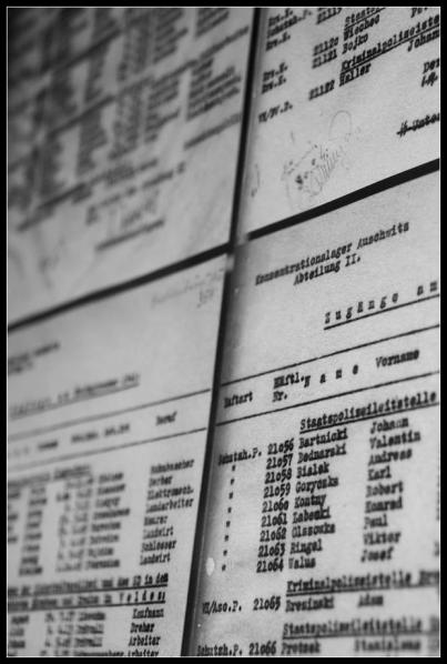 Camp d'Auschwitz Birkenau liste de prisonniers