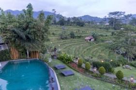 Sawah Indah - vue de la piscine depuis notre terrasse