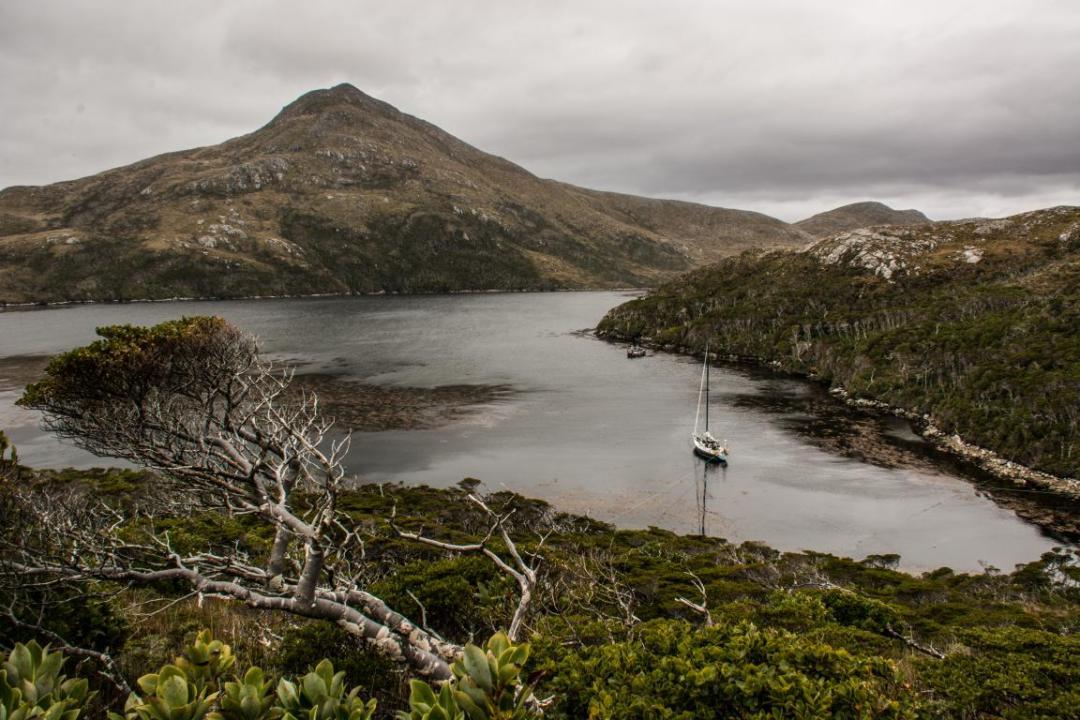 voilier dans paysage de patagonie