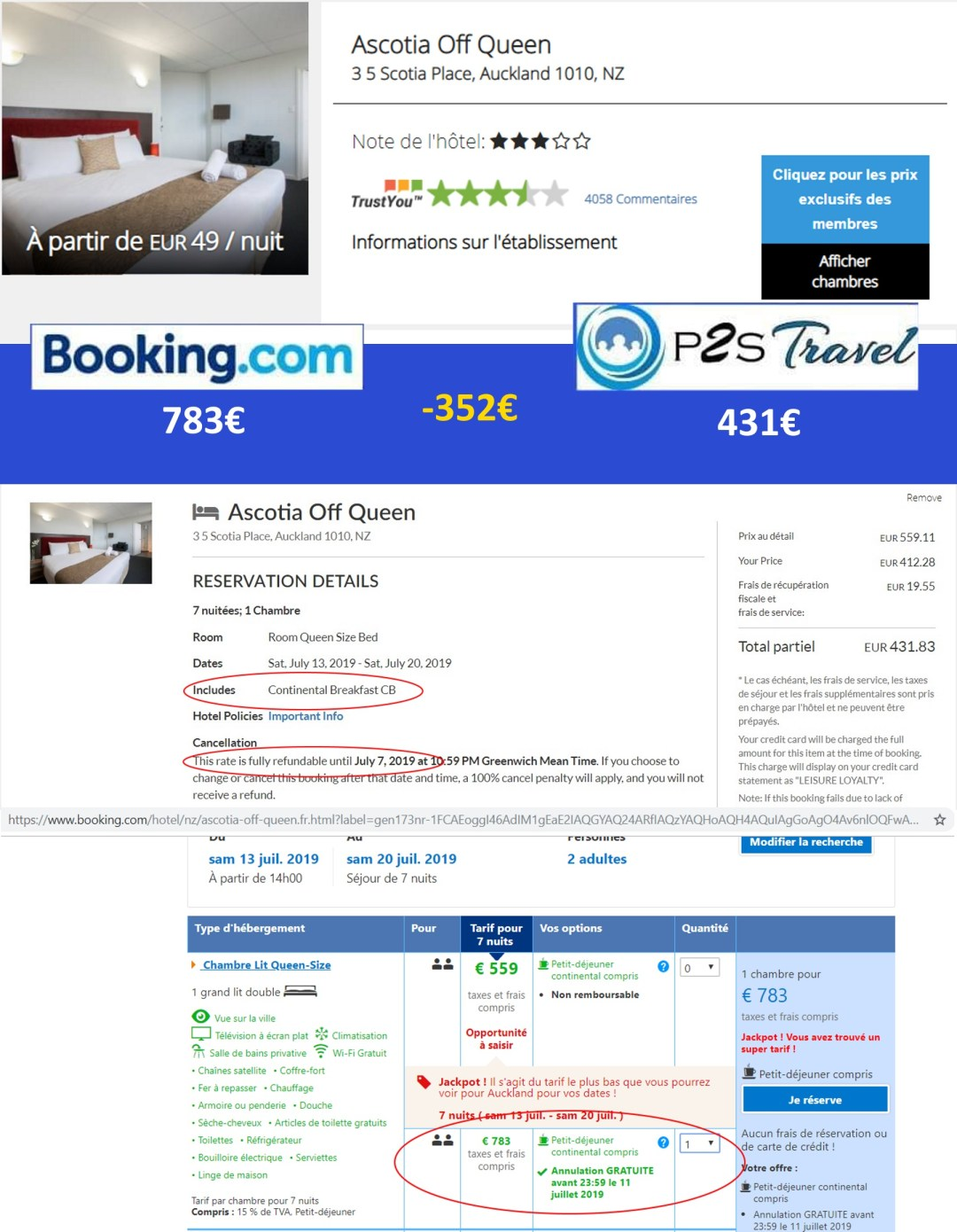comparatif booking et p2s travel