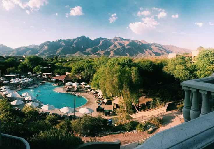 resort near brown mountain range