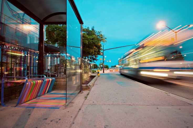 bench light city road
