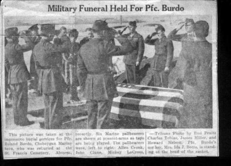 Private Roland Burdo Military Funeral, St. Francis Cemetery, Alverno, Michigan.