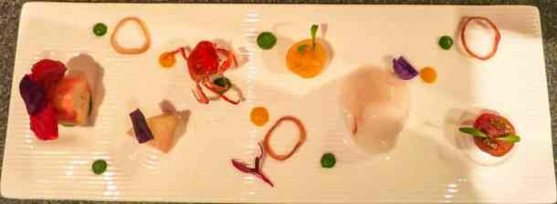 Liberty private works Crabe, tomate, pêche et coriandre