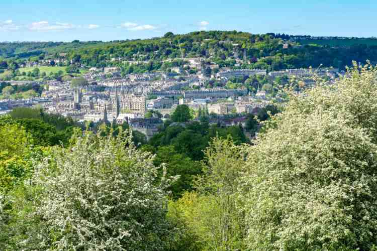 Vues sur Bath depuis Prior Park