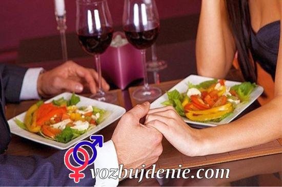 Romantisk middag excites kvinnor