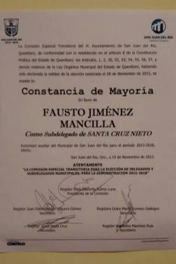 Constancia de Mayoría de Fausto Jiménez