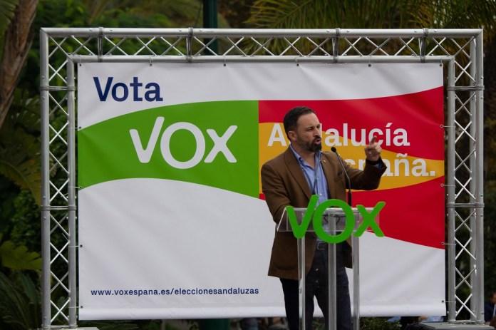 Santiago Abascal durante un mítin de Vox en Málaga