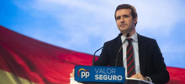 Pablo Casado durante un mítin del PP en Alicante