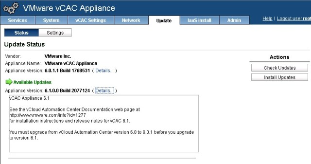 vCAC 6.0.1 to 6.1 upgrade 1
