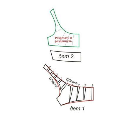 Všechny sochory se skládají na polovinu. Umístěte okraje s dvojitým švem. Linka by měla trvat 0,5 mm od okraje.