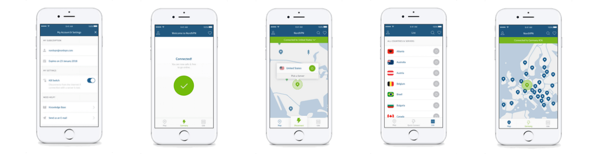 NordVPN IOS Application screenshots