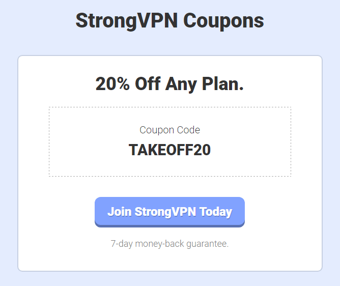 20 percent coupons of strongVPN
