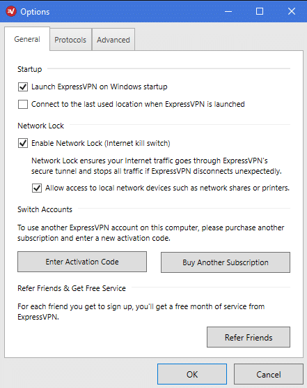 ExpressVPN firewall-based kill switch and DNS leak protection
