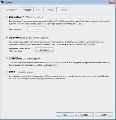 VyprVPN client Chameleon protocol selection