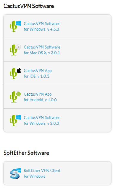 cactus vpn software list
