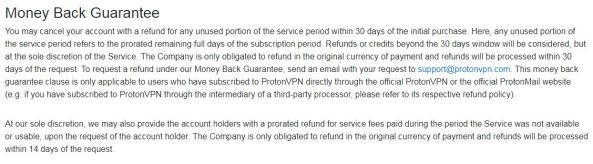 refund policy of protonvpn