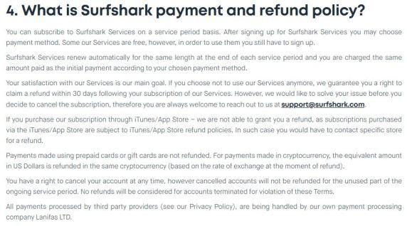 refund policy of surfshark