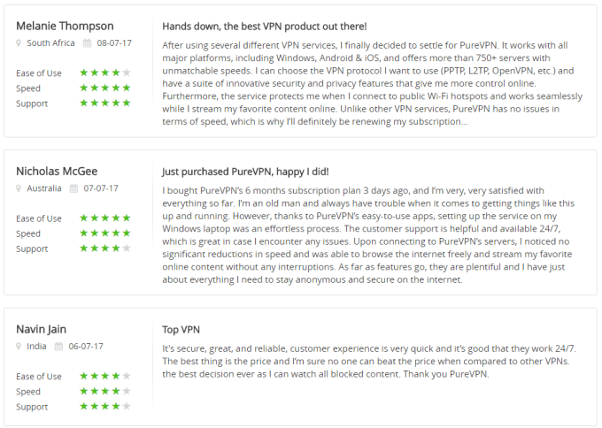 reviews of purevpn