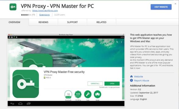 vpn proxy master in Chrome