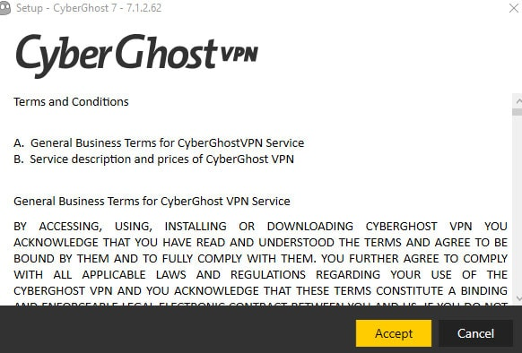 Conditions d'utilisation cyberghost