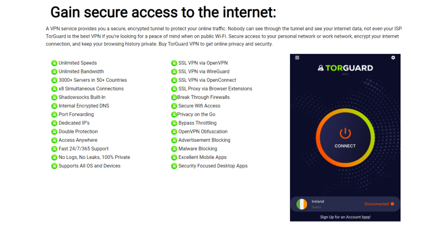 Gain secure access to the internet: