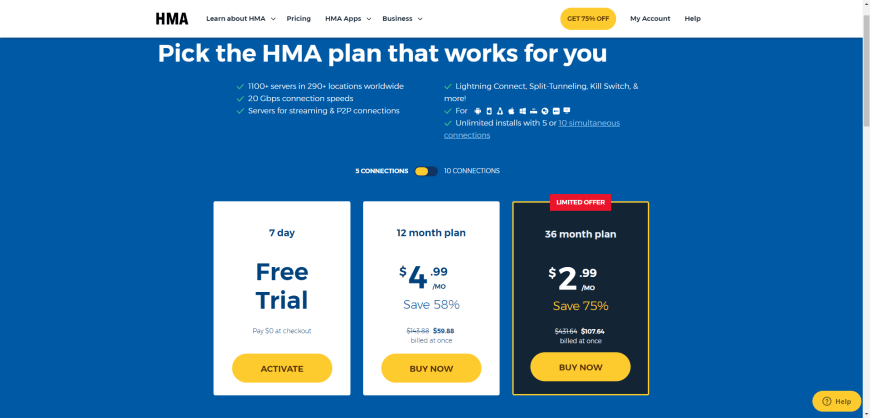 Pick the HMA plan that works for you