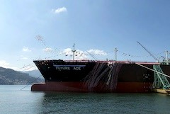 Mitsubishi Shipbuilding holds christening ceremony for fuel-efficient LPG carrier
