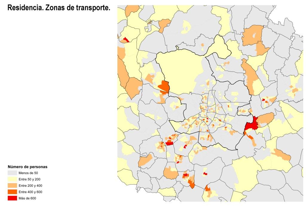 Lugar de residencia de población de riesgo. Zonas de transporte.