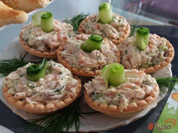 Тарталетки с копченой кетой и сыр-муссом 1 - рецепты с ...