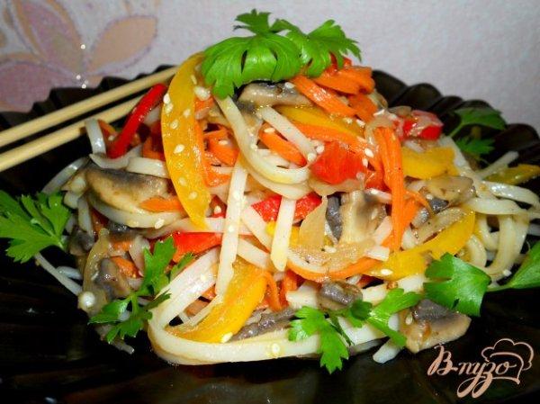 Китайский салат с рисовой лапшой - рецепты с фото на vpuzo.com