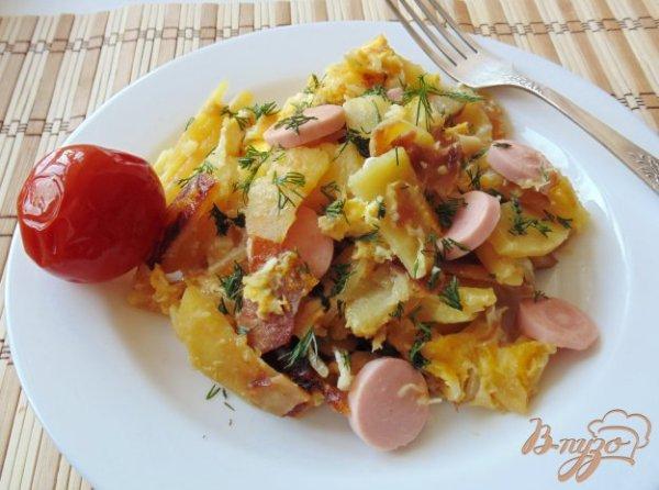 Картофель жареный с сосисками и яйцами рецепты с фото на